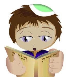 ילד קורא בהגדה של פסח